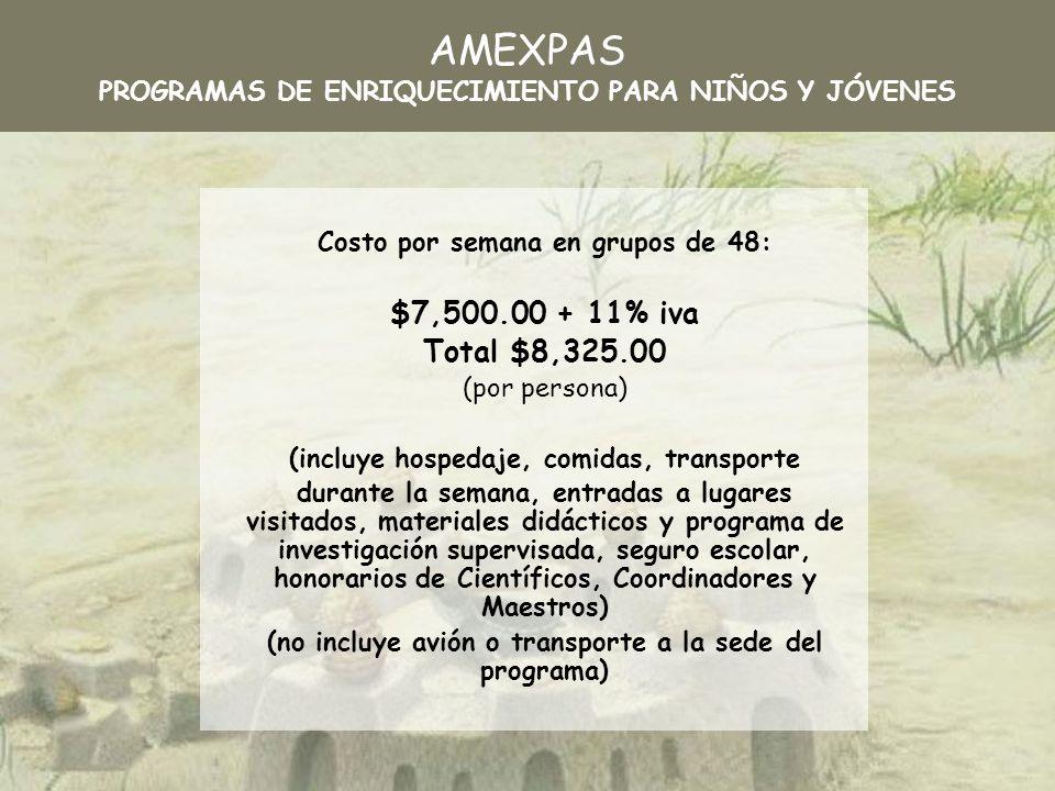 AMEXPAS PROGRAMAS DE ENRIQUECIMIENTO PARA NIÑOS Y JÓVENES