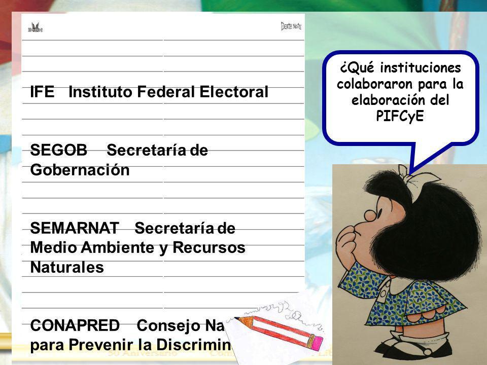 ¿Qué instituciones colaboraron para la elaboración del PIFCyE