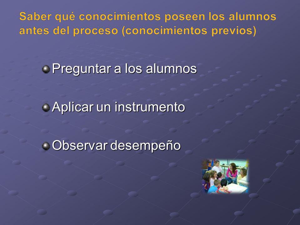 Preguntar a los alumnos Aplicar un instrumento Observar desempeño