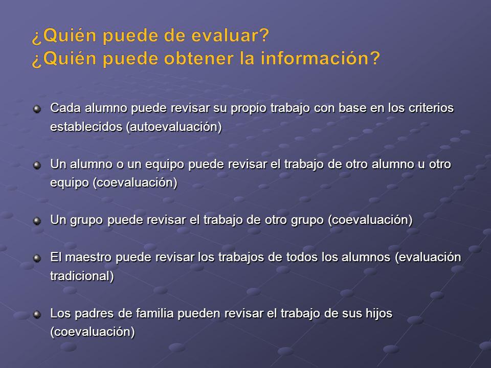 ¿Quién puede de evaluar ¿Quién puede obtener la información