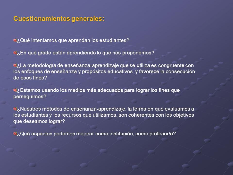 Cuestionamientos generales: