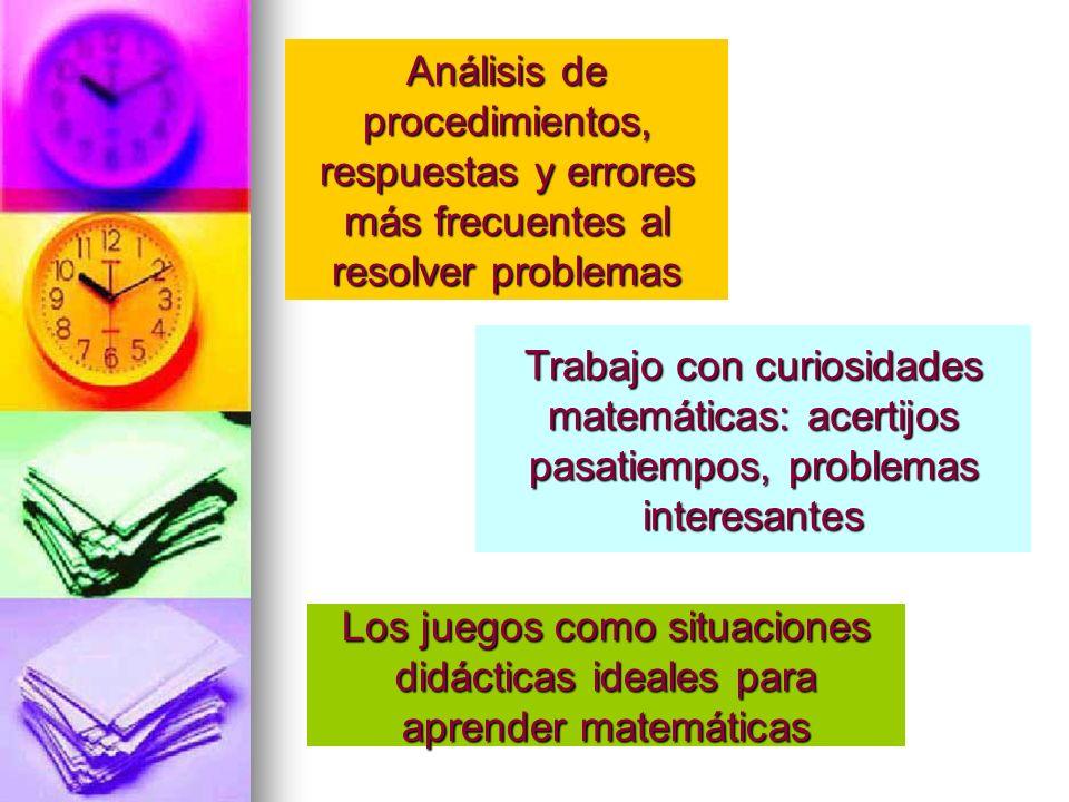 Análisis de procedimientos, respuestas y errores más frecuentes al resolver problemas