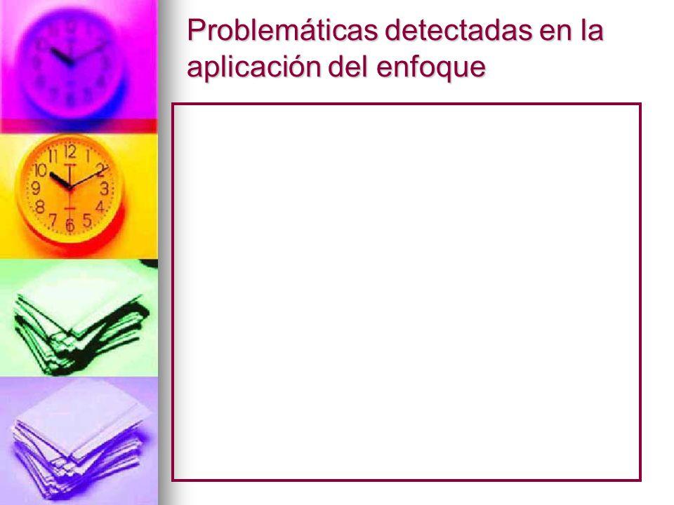 Problemáticas detectadas en la aplicación del enfoque