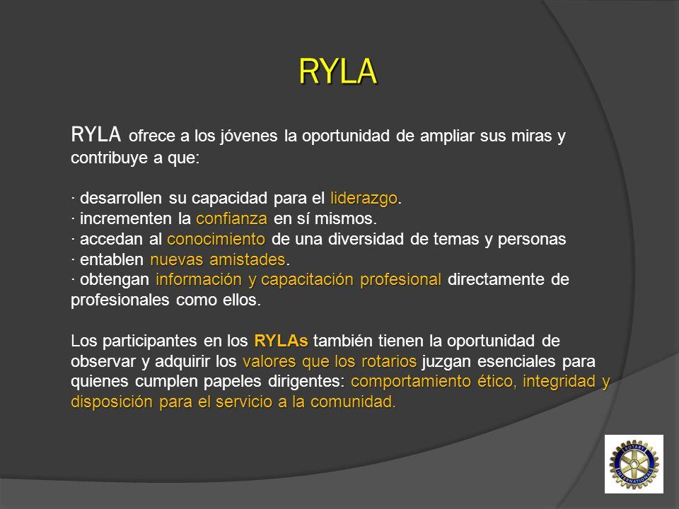 RYLA RYLA ofrece a los jóvenes la oportunidad de ampliar sus miras y contribuye a que:
