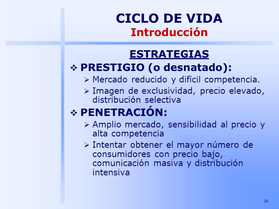 CICLO DE VIDA Introducción ESTRATEGIAS PRESTIGIO (o desnatado):