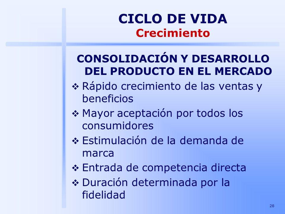 CONSOLIDACIÓN Y DESARROLLO DEL PRODUCTO EN EL MERCADO