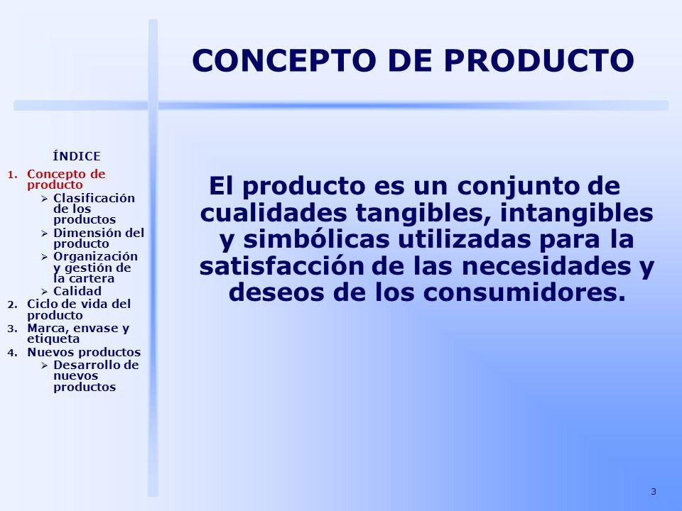 CONCEPTO DE PRODUCTO ÍNDICE. Concepto de producto. Clasificación de los productos. Dimensión del producto.