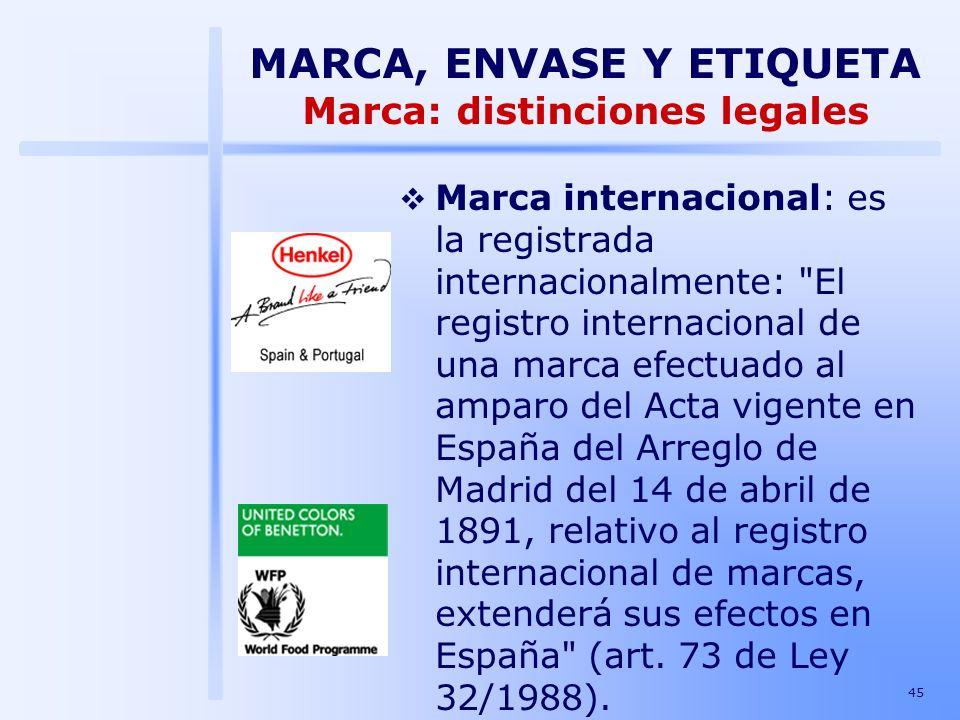 MARCA, ENVASE Y ETIQUETA Marca: distinciones legales