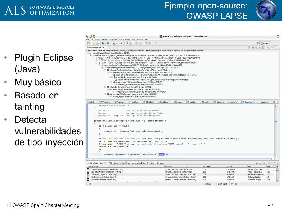 Ejemplo open-source: OWASP LAPSE
