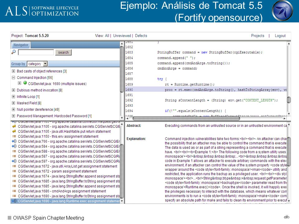 Ejemplo: Análisis de Tomcat 5.5 (Fortify opensource)