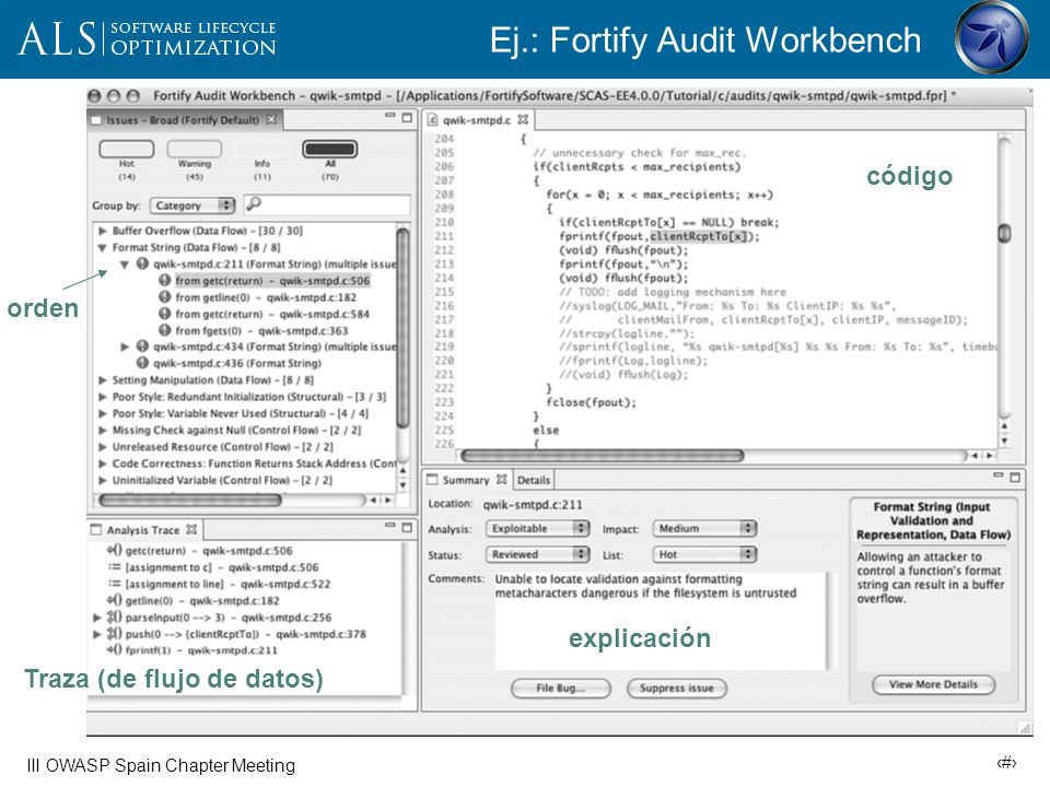 Ej.: Fortify Audit Workbench