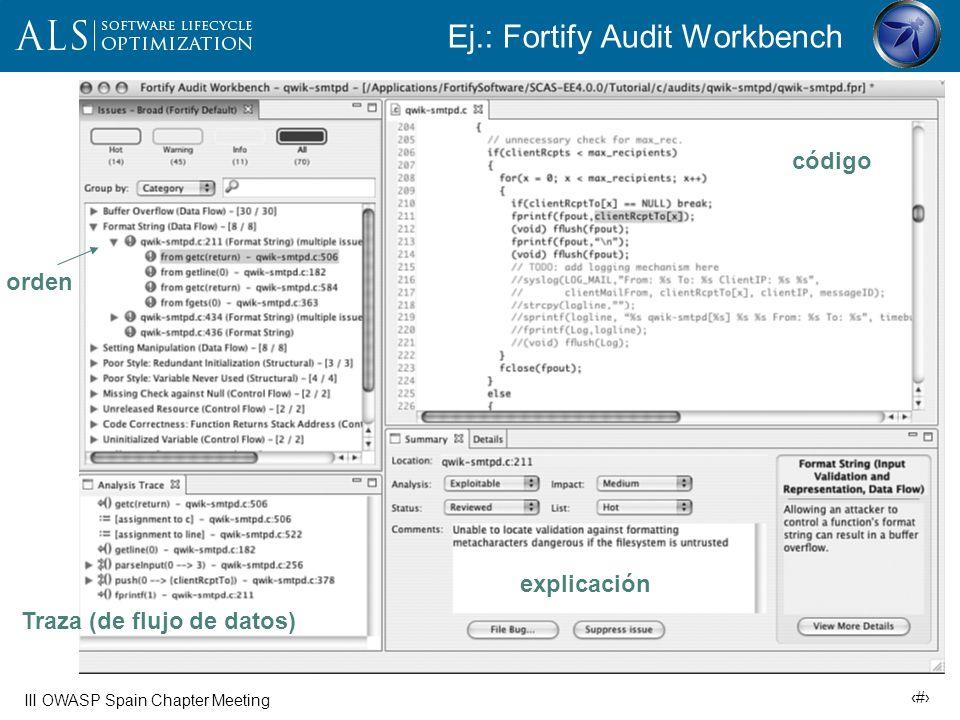 Ej.: Fortify Audit Workbench