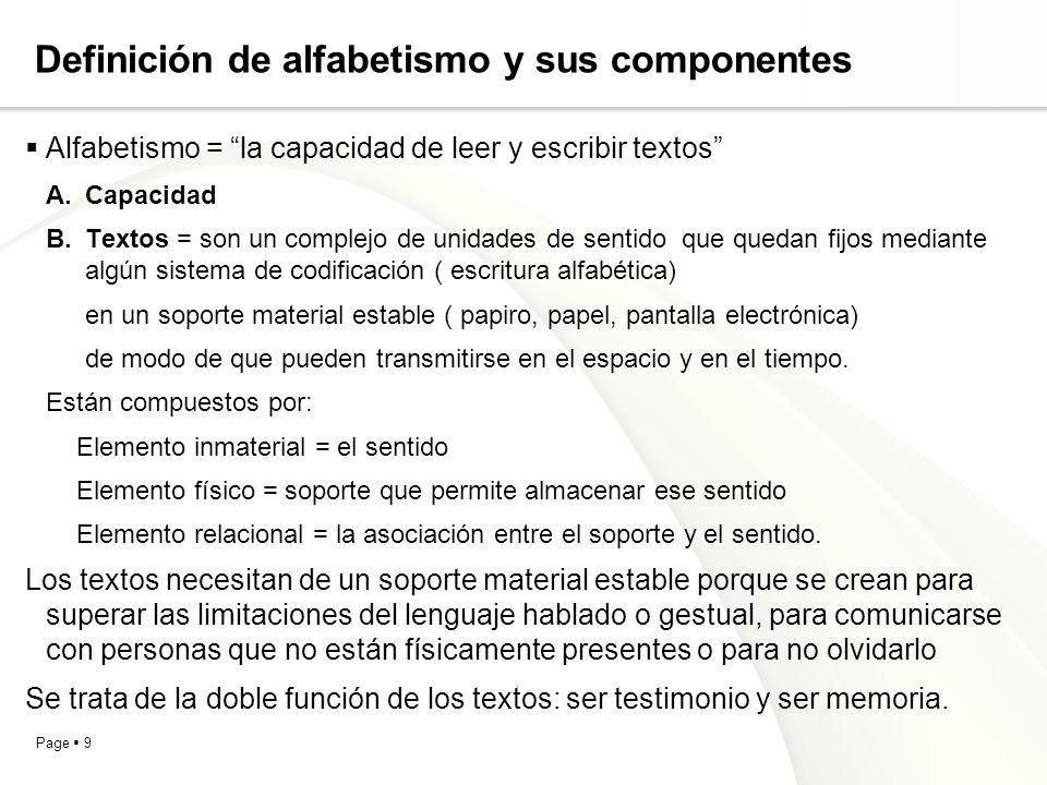 Definición de alfabetismo y sus componentes