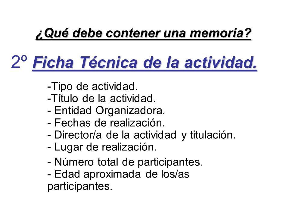 Ficha Técnica de la actividad.