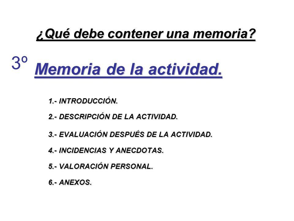 ¿Qué debe contener una memoria