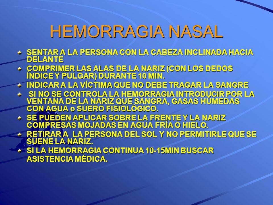 HEMORRAGIA NASAL SENTAR A LA PERSONA CON LA CABEZA INCLINADA HACIA DELANTE.