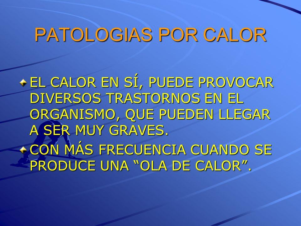 PATOLOGIAS POR CALOREL CALOR EN SÍ, PUEDE PROVOCAR DIVERSOS TRASTORNOS EN EL ORGANISMO, QUE PUEDEN LLEGAR A SER MUY GRAVES.