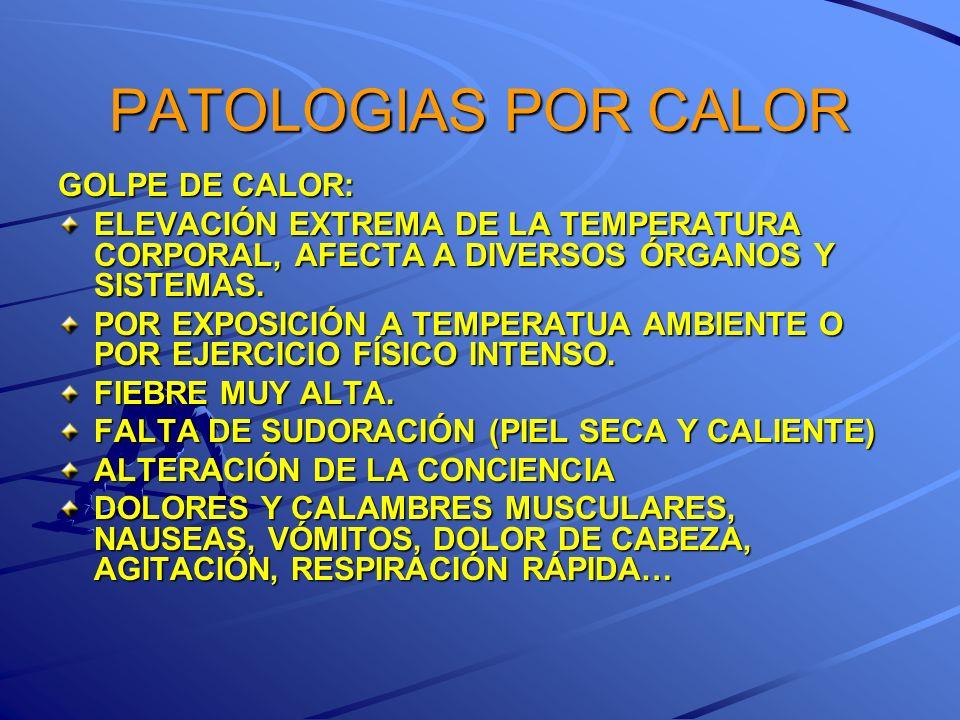 PATOLOGIAS POR CALOR GOLPE DE CALOR: