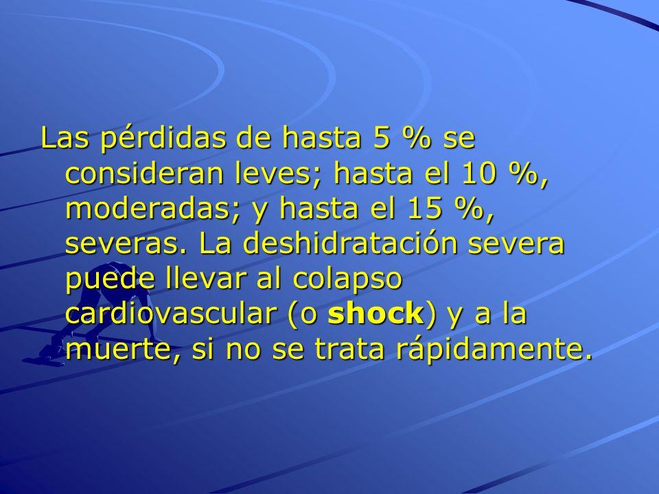 Las pérdidas de hasta 5 % se consideran leves; hasta el 10 %, moderadas; y hasta el 15 %, severas.