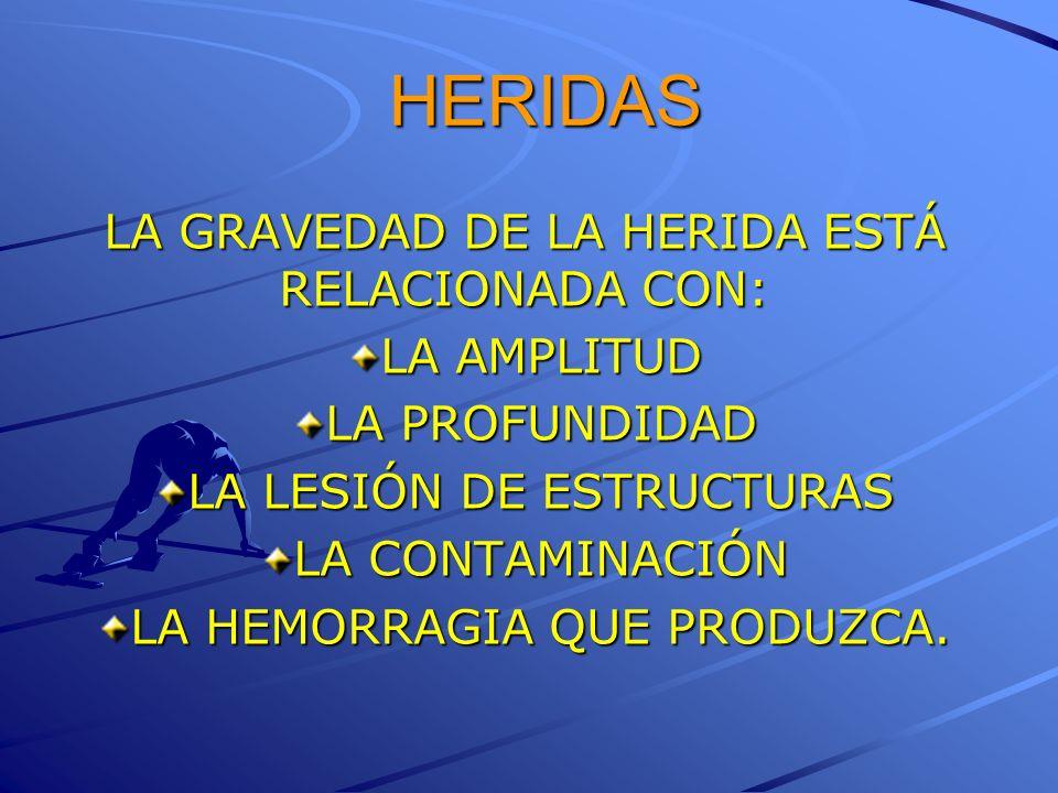HERIDAS LA GRAVEDAD DE LA HERIDA ESTÁ RELACIONADA CON: LA AMPLITUD