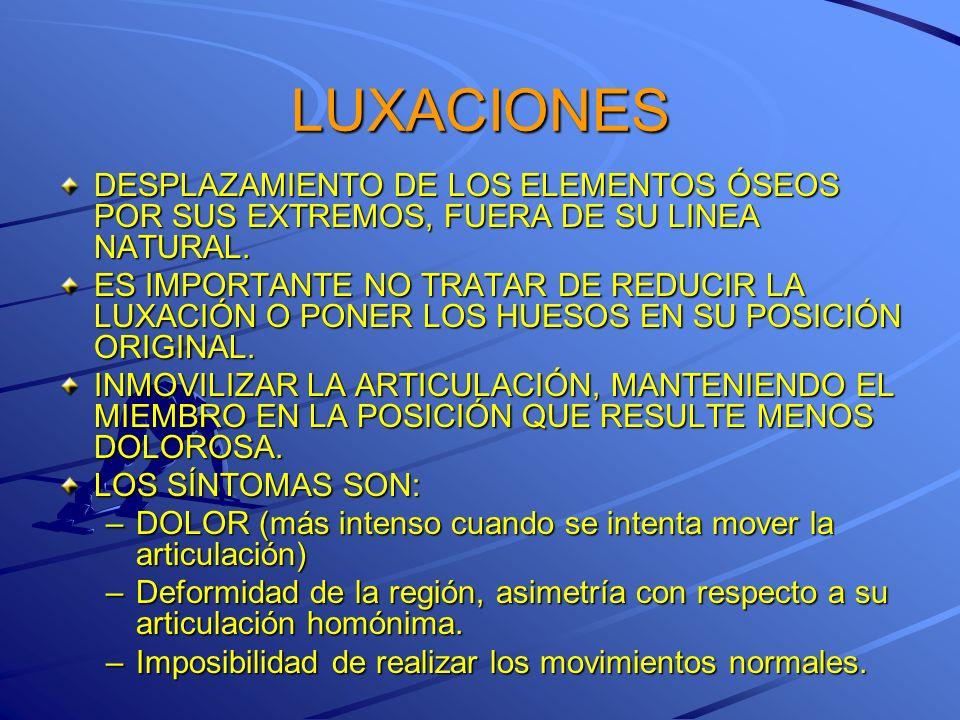 LUXACIONES DESPLAZAMIENTO DE LOS ELEMENTOS ÓSEOS POR SUS EXTREMOS, FUERA DE SU LINEA NATURAL.