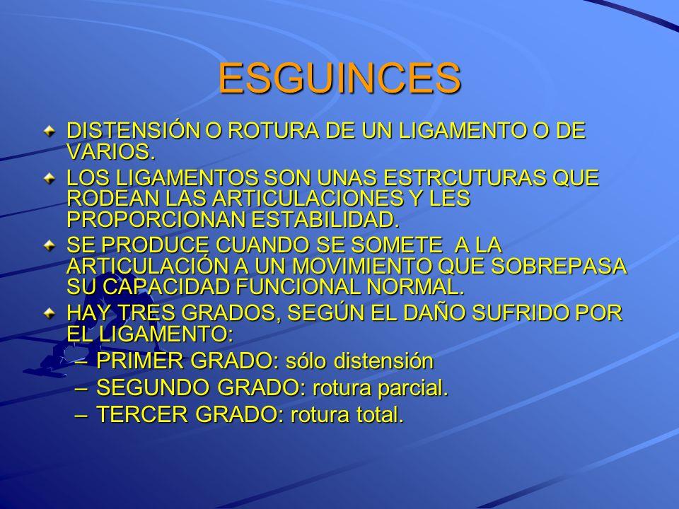 ESGUINCES PRIMER GRADO: sólo distensión SEGUNDO GRADO: rotura parcial.