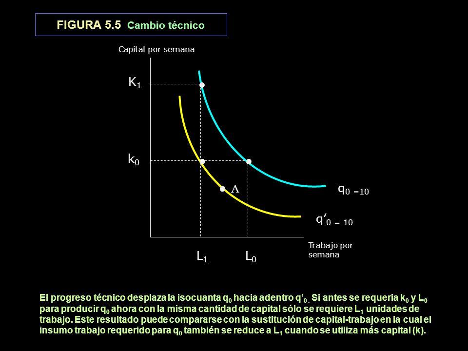 FIGURA 5.5 Cambio técnico K1 ● k0 ● ● ● A q0 =10 q'0 = 10 L1 L0