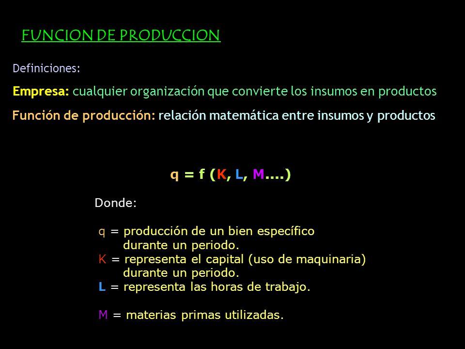 FUNCION DE PRODUCCION Definiciones: