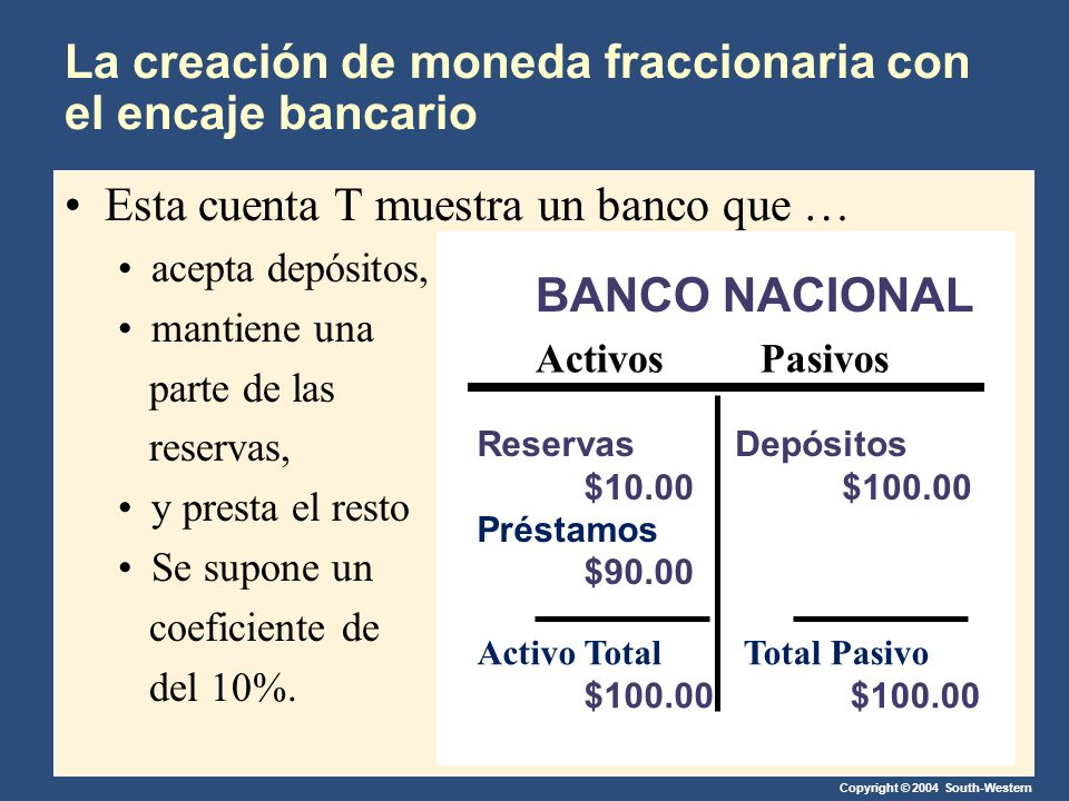 La creación de moneda fraccionaria con el encaje bancario