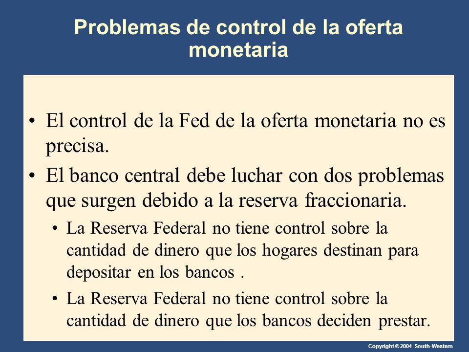 Problemas de control de la oferta monetaria