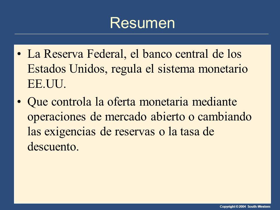 Resumen La Reserva Federal, el banco central de los Estados Unidos, regula el sistema monetario EE.UU.