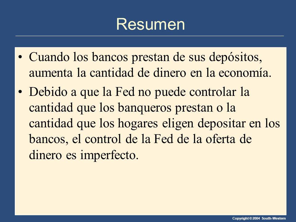 Resumen Cuando los bancos prestan de sus depósitos, aumenta la cantidad de dinero en la economía.