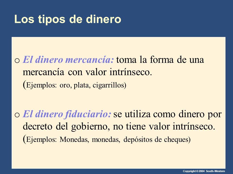 Los tipos de dinero El dinero mercancía: toma la forma de una mercancía con valor intrínseco. (Ejemplos: oro, plata, cigarrillos)