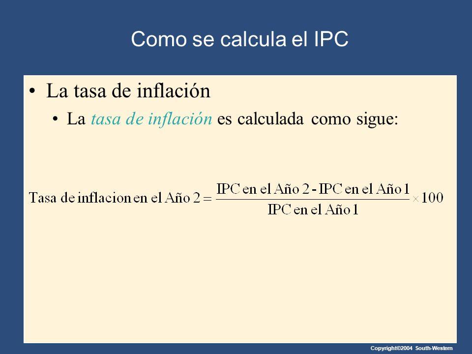 Como se calcula el IPC La tasa de inflación