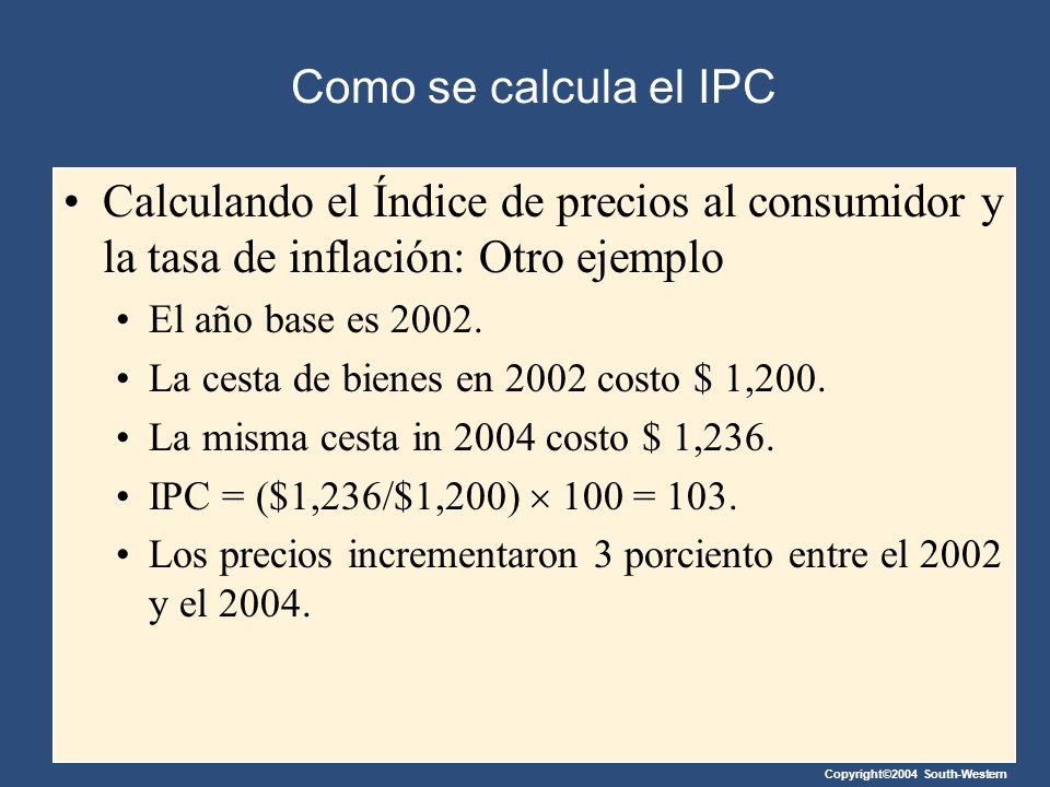 Como se calcula el IPC Calculando el Índice de precios al consumidor y la tasa de inflación: Otro ejemplo.