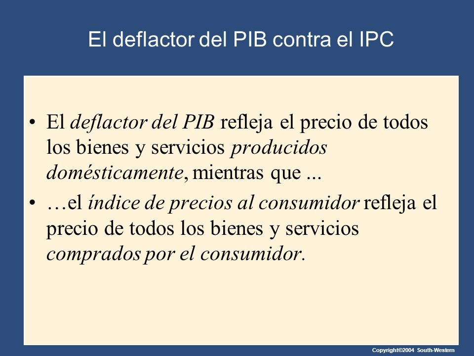 El deflactor del PIB contra el IPC