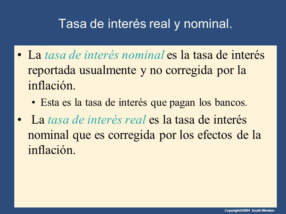 Tasa de interés real y nominal.