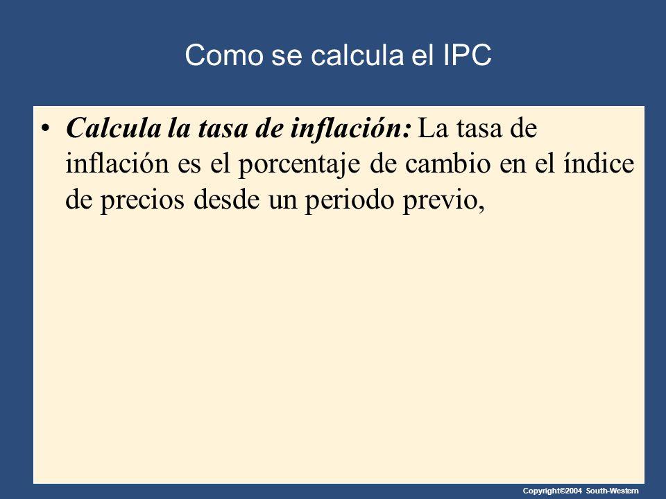 Como se calcula el IPC Calcula la tasa de inflación: La tasa de inflación es el porcentaje de cambio en el índice de precios desde un periodo previo,