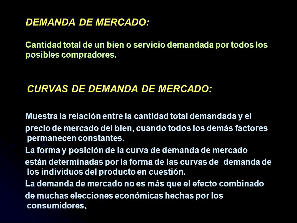 CURVAS DE DEMANDA DE MERCADO: