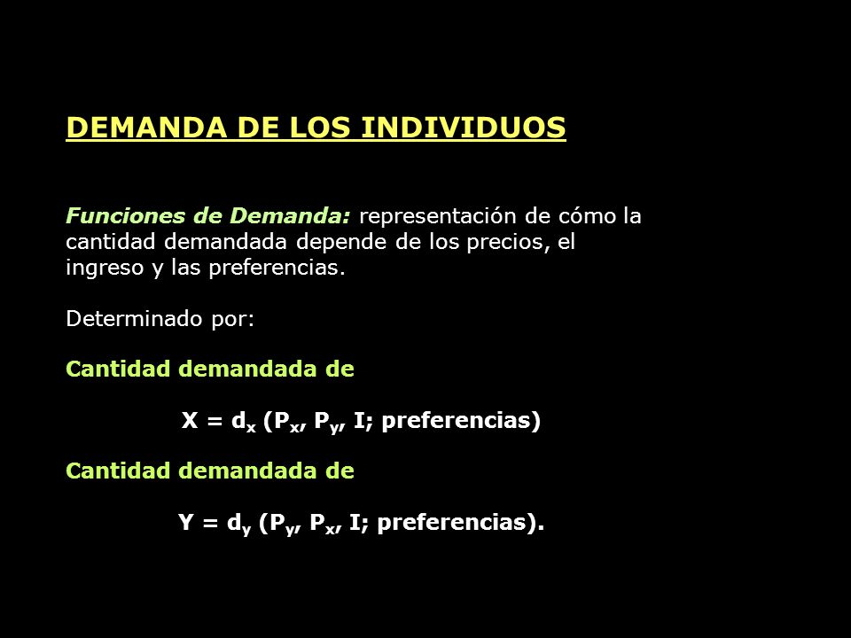 X = dx (Px, Py, I; preferencias) Y = dy (Py, Px, I; preferencias).