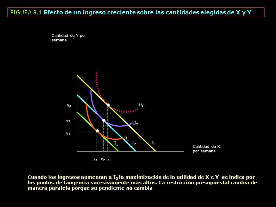 FIGURA 3.1 Efecto de un ingreso creciente sobre las cantidades elegidas de X y Y