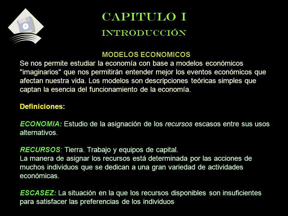 CAPITULO I INTRODUCCIÓN MODELOS ECONOMICOS