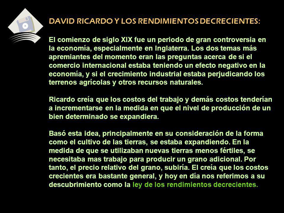 DAVID RICARDO Y LOS RENDIMIENTOS DECRECIENTES: