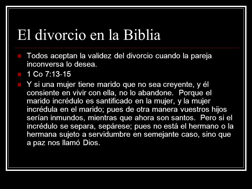 El divorcio en la Biblia