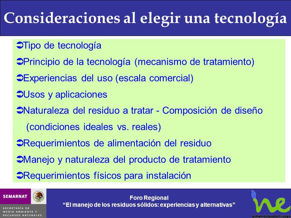 Consideraciones al elegir una tecnología