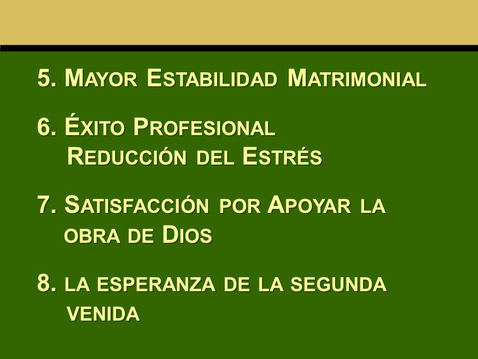 5. Mayor Estabilidad Matrimonial