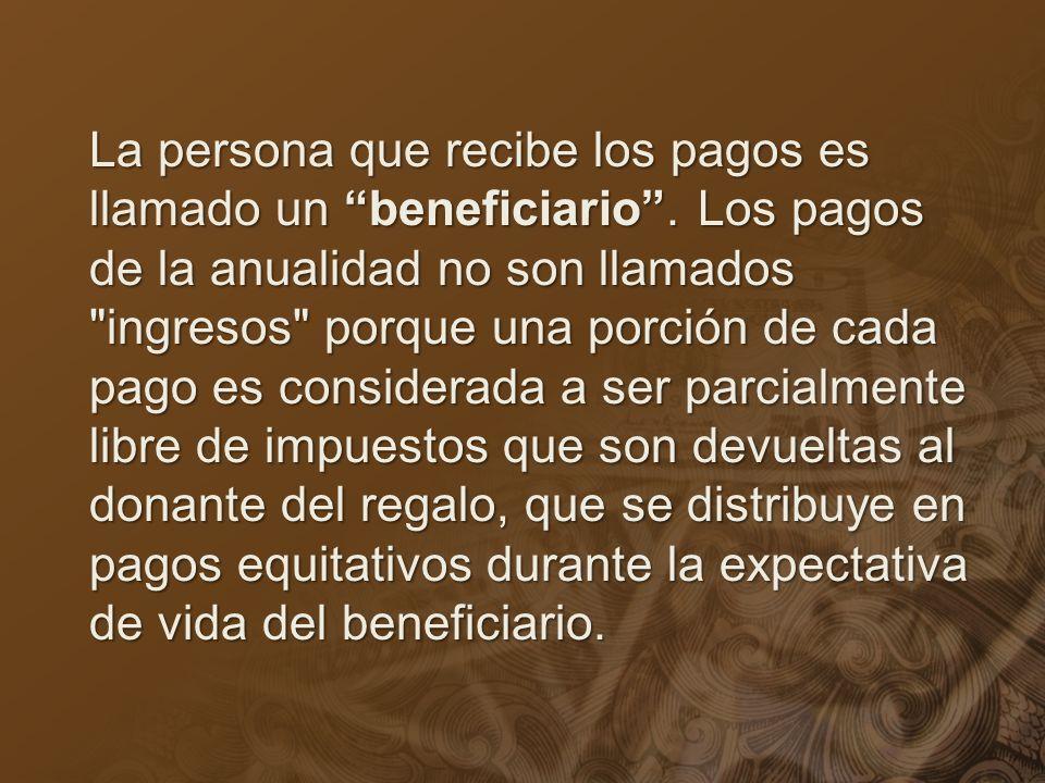 La persona que recibe los pagos es llamado un beneficiario