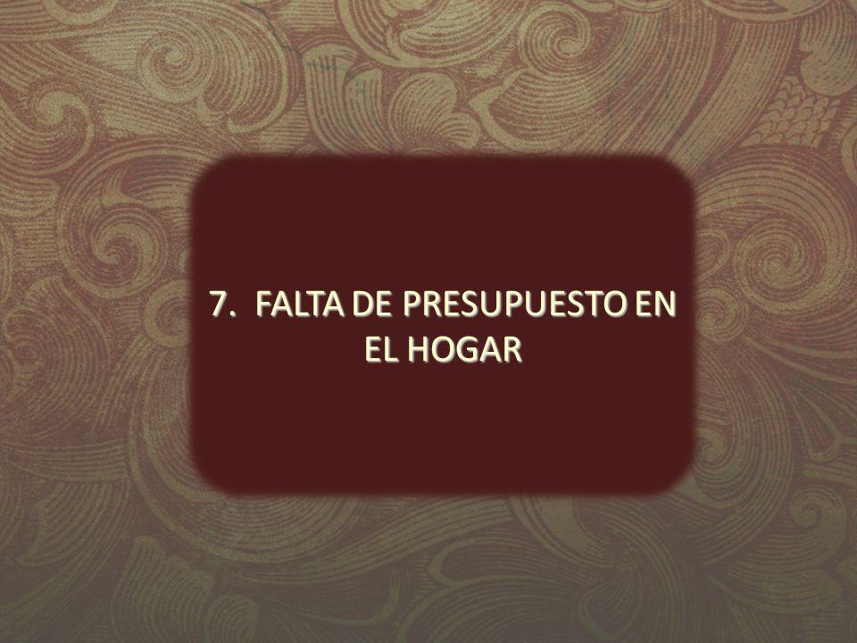7. FALTA DE PRESUPUESTO EN EL HOGAR