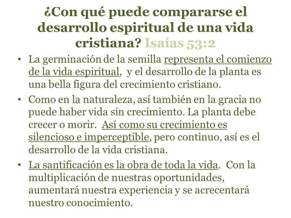 ¿Con qué puede compararse el desarrollo espiritual de una vida cristiana Isaías 53:2