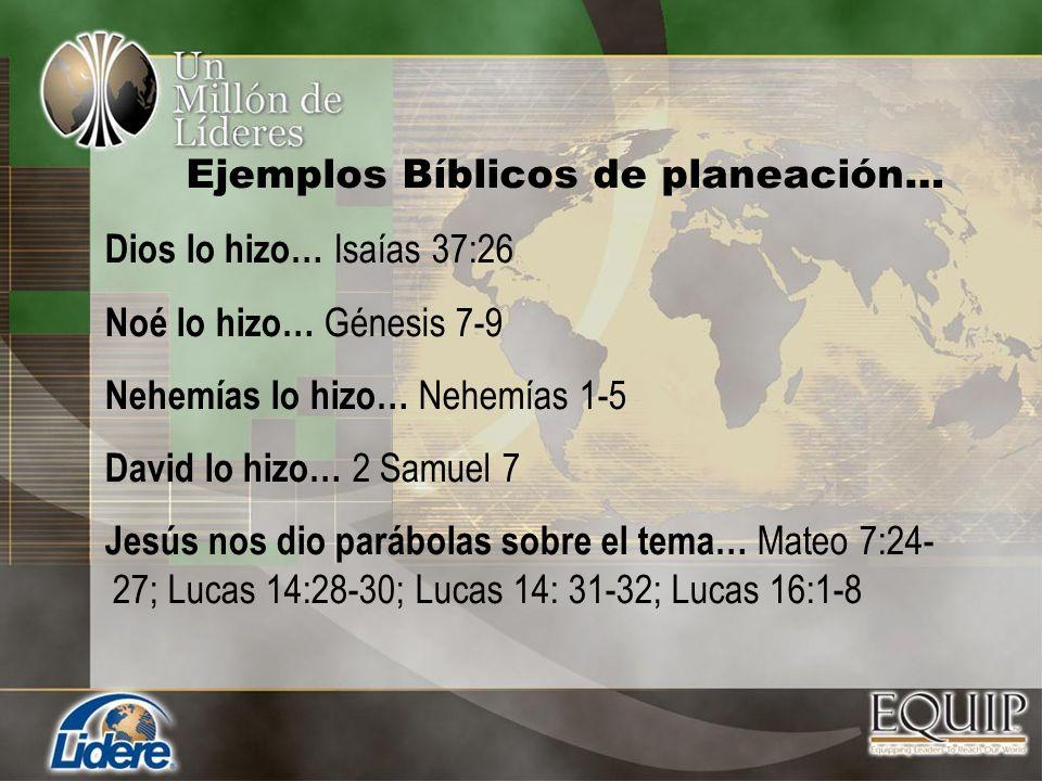 Ejemplos Bíblicos de planeación…